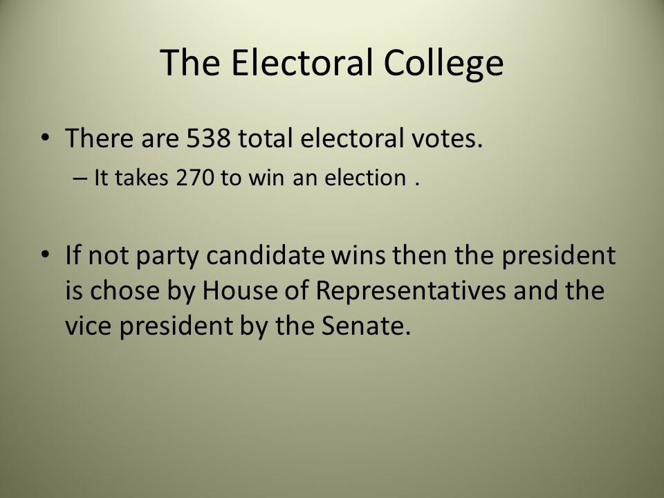 The Electoral College There are 538 total electoral votes.