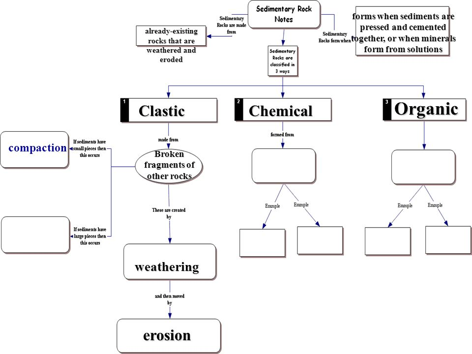 Organic Clastic Chemical erosion weathering compaction