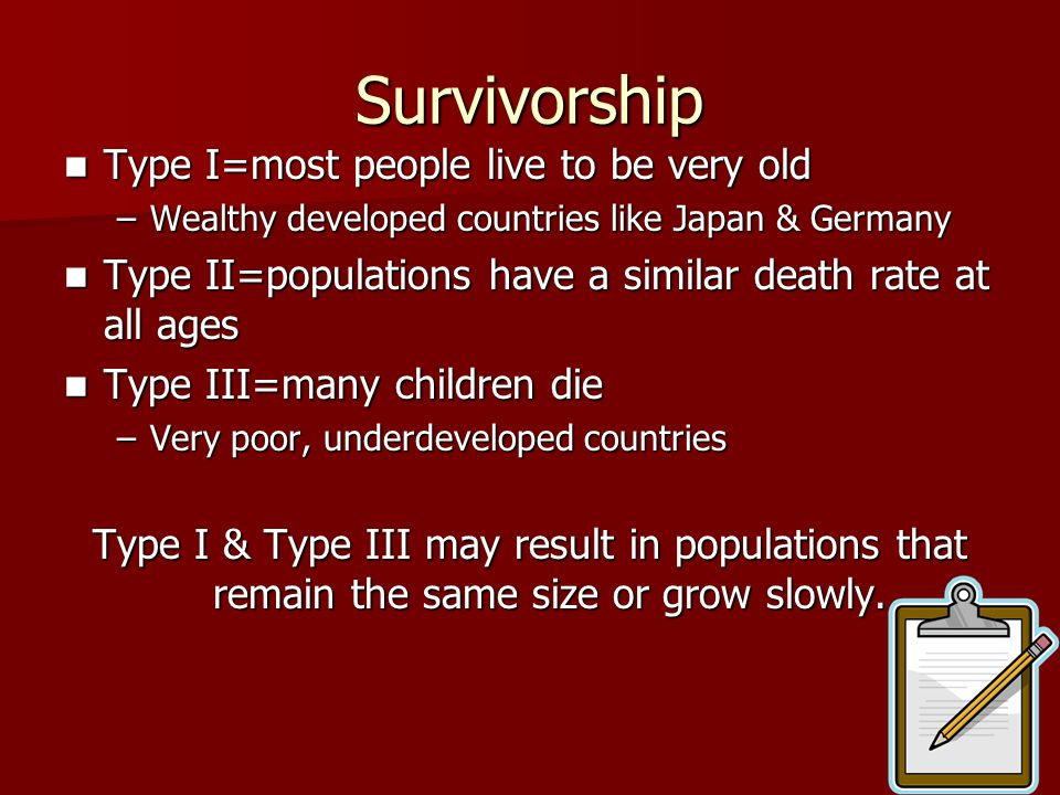 Survivorship Type I=most people live to be very old