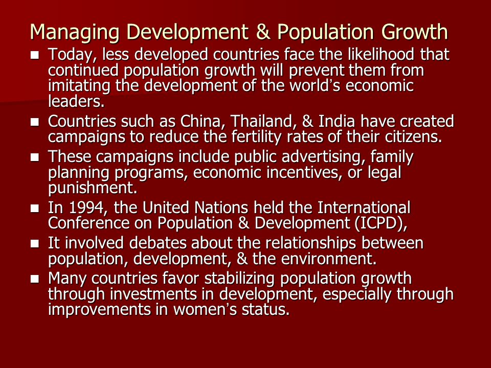 Managing Development & Population Growth