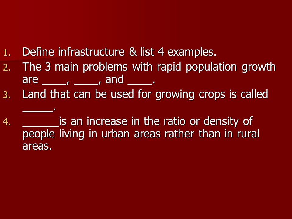Define infrastructure & list 4 examples.