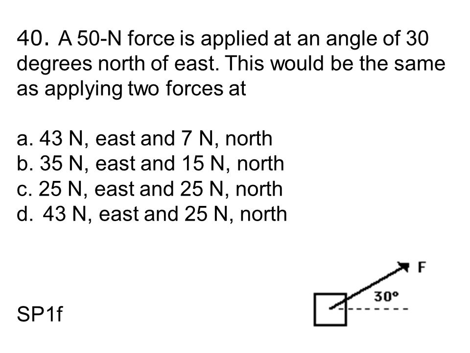 40. A 50-N force is applied at an angle of 30 degrees north of east