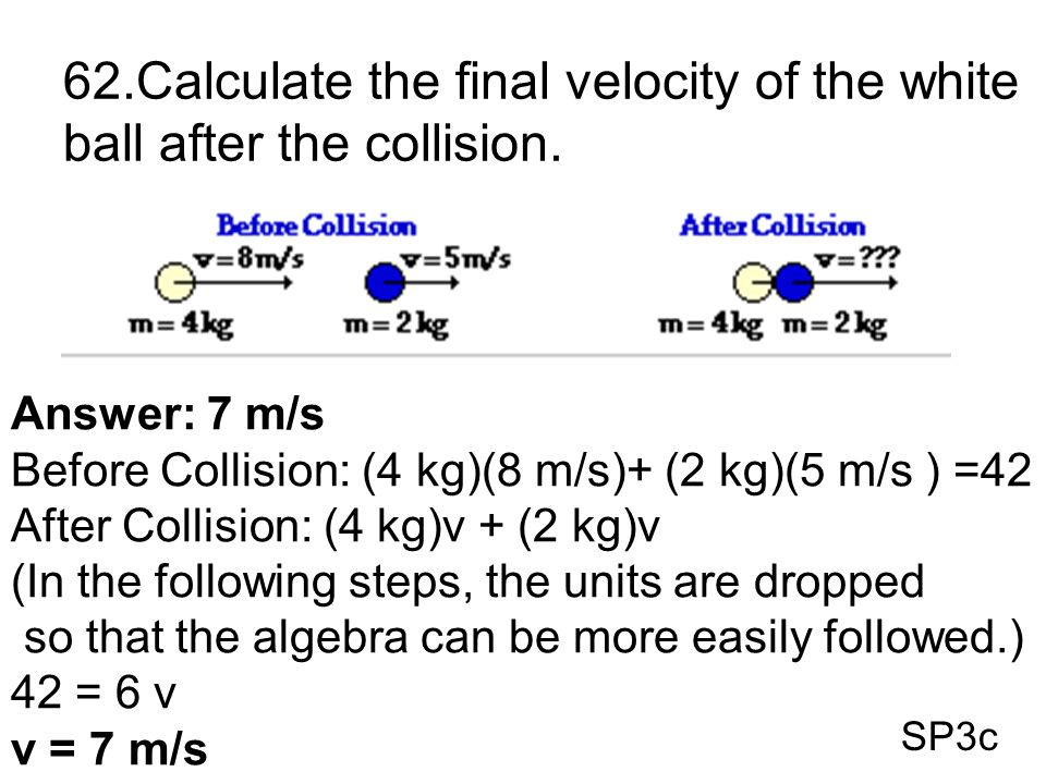 62.Calculate the final velocity of the white ball after the collision.