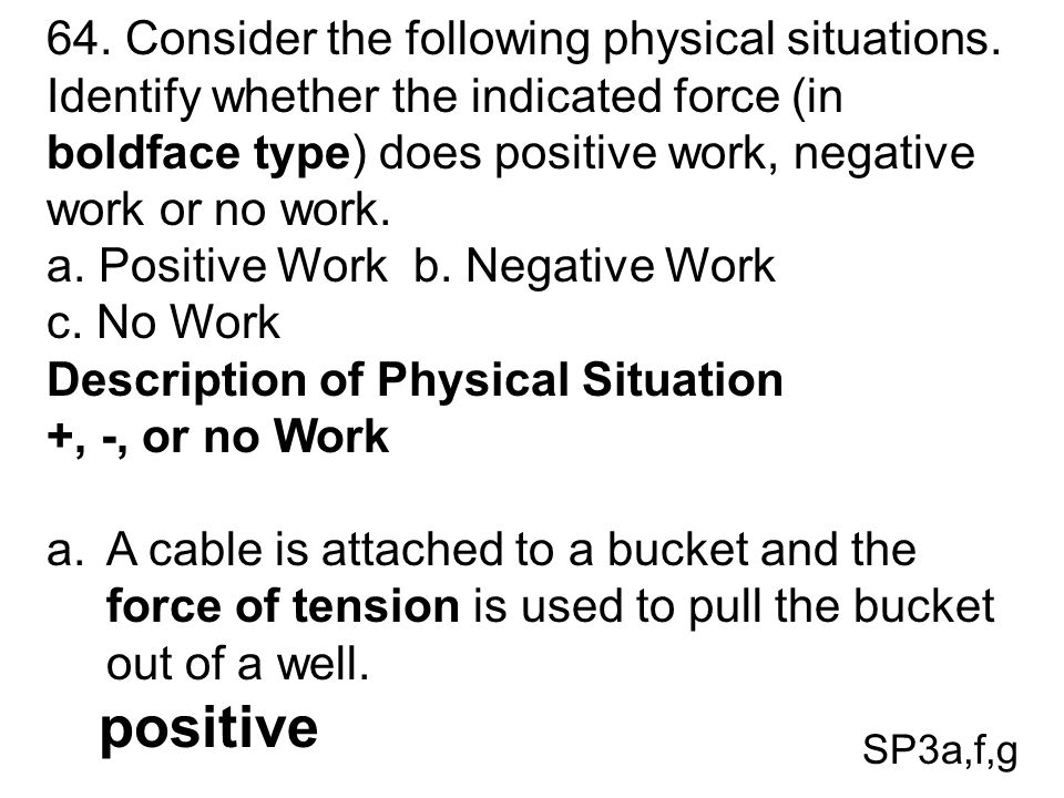 a. Positive Work b. Negative Work