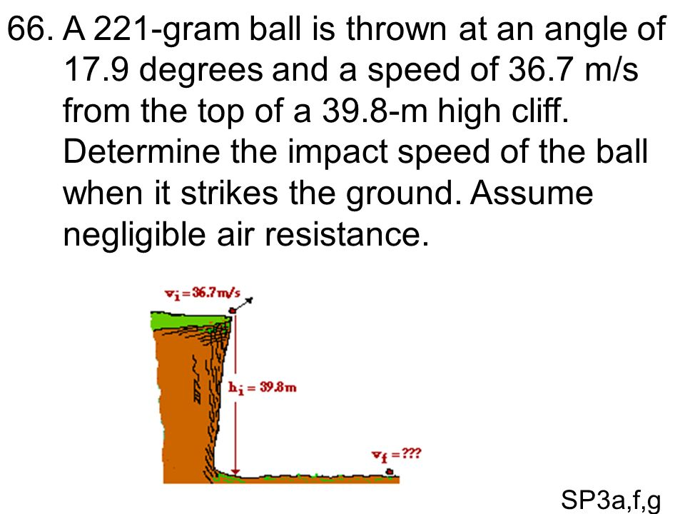 A 221-gram ball is thrown at an angle of 17