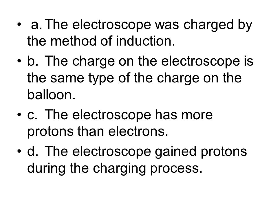 a. The electroscope was charged by the method of induction.