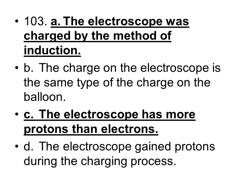 103. a. The electroscope was charged by the method of induction.
