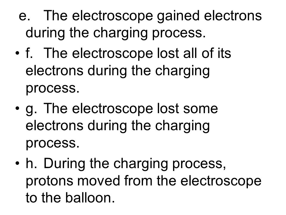 e. The electroscope gained electrons during the charging process.