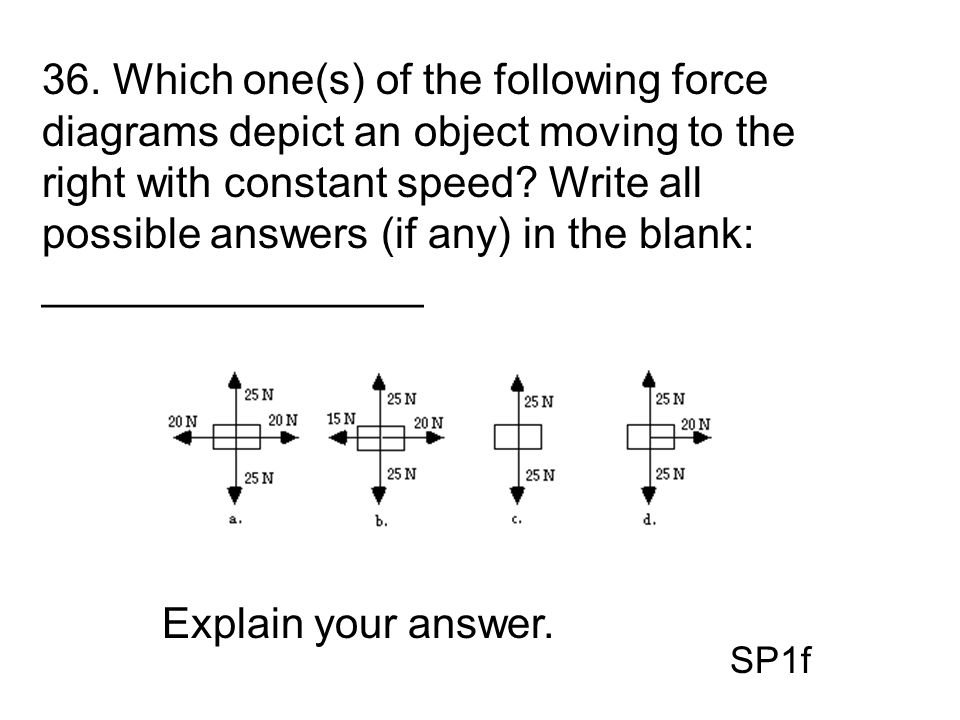 36. Which one(s) of the following force diagrams depict an object moving to the right with constant speed Write all possible answers (if any) in the blank: ________________