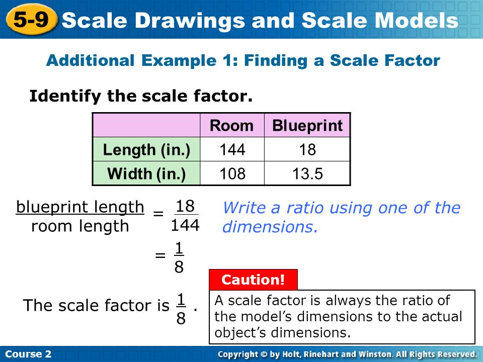 Additional Example 1: Finding a Scale Factor