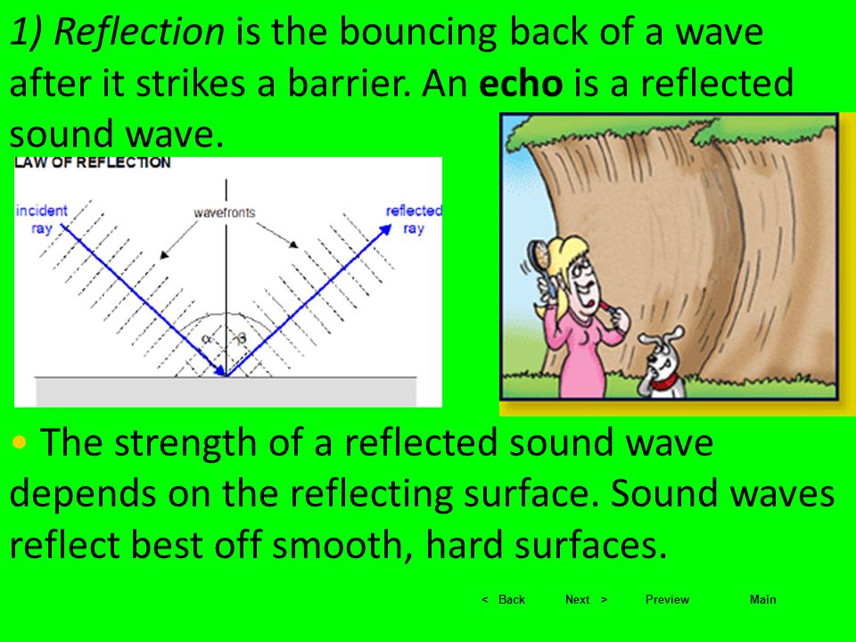 1) Reflection is the bouncing back of a wave after it strikes a barrier. An echo is a reflected sound wave.