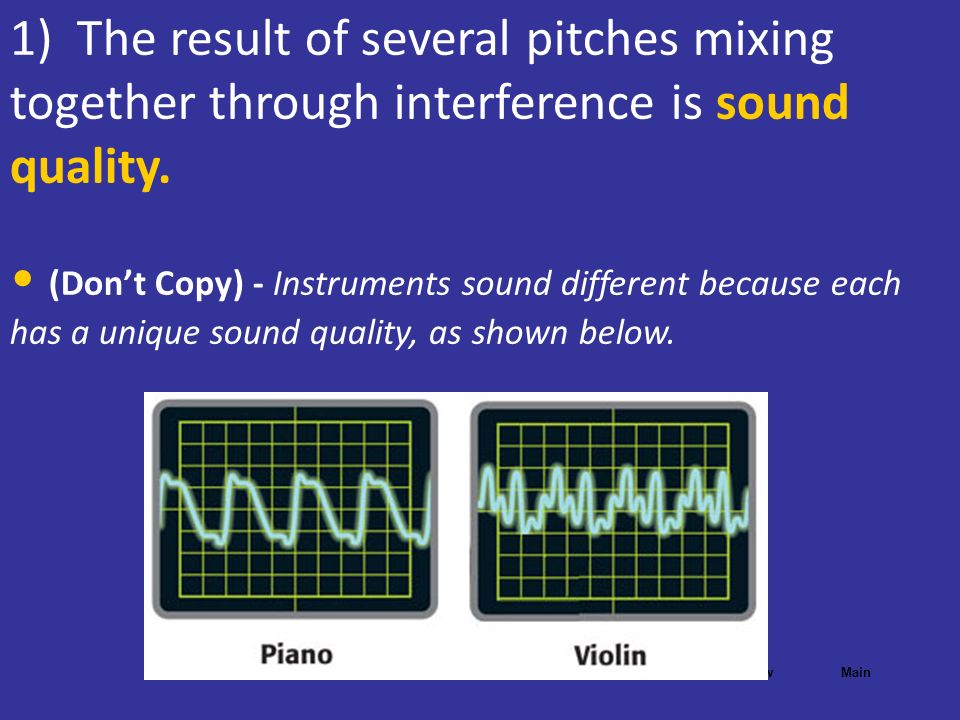 1) The result of several pitches mixing together through interference is sound quality.