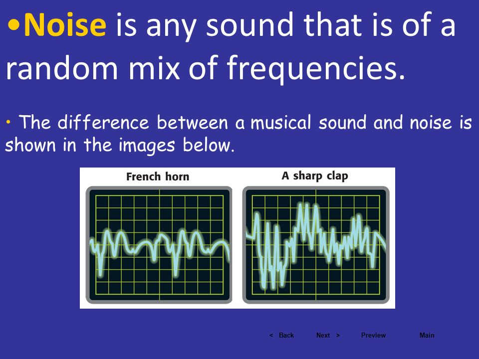 Noise is any sound that is of a random mix of frequencies.