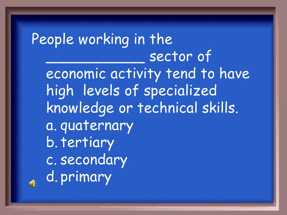 People working in the ___________ sector of economic activity tend to have high levels of specialized knowledge or technical skills.