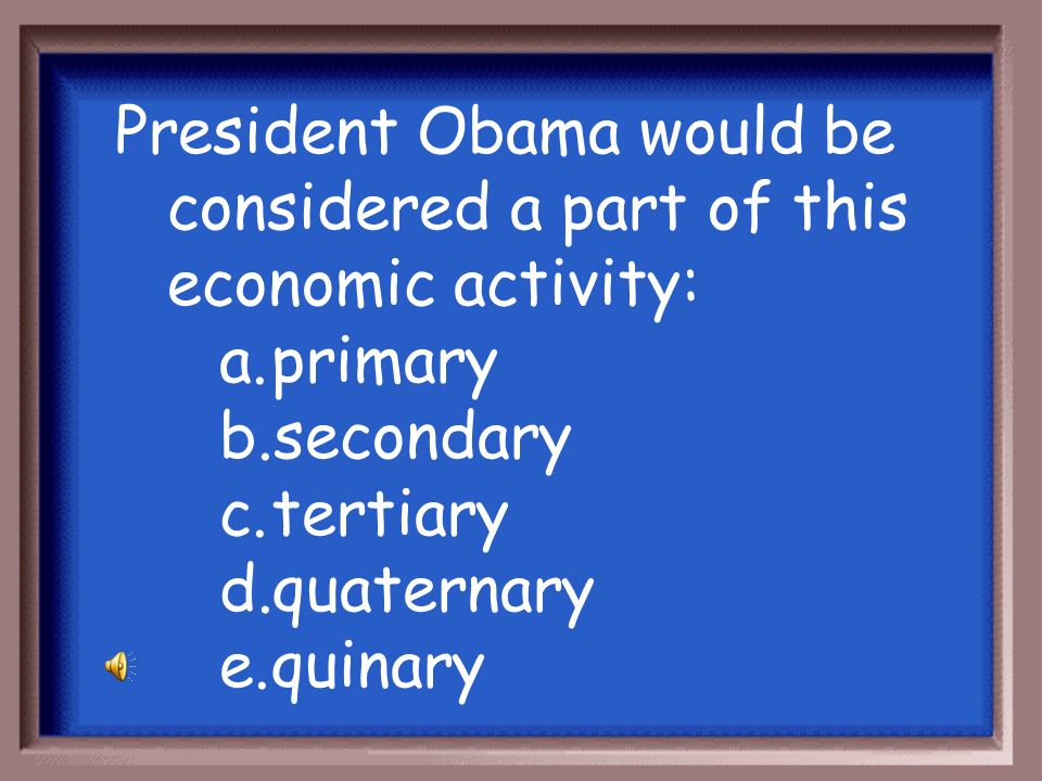 President Obama would be considered a part of this economic activity: