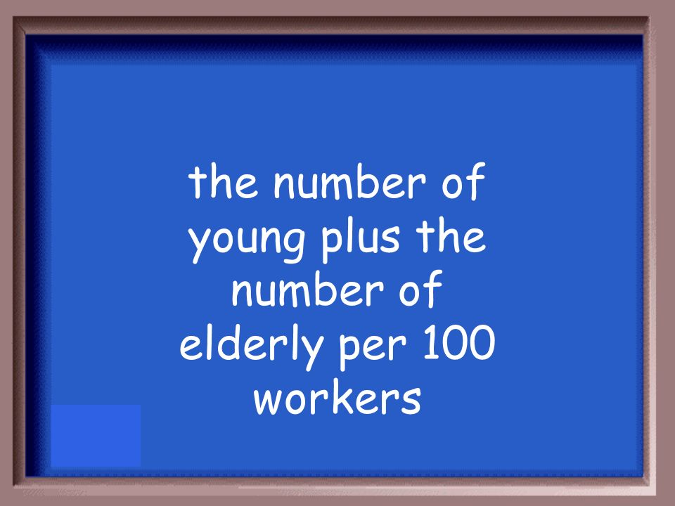 the number of young plus the number of elderly per 100 workers