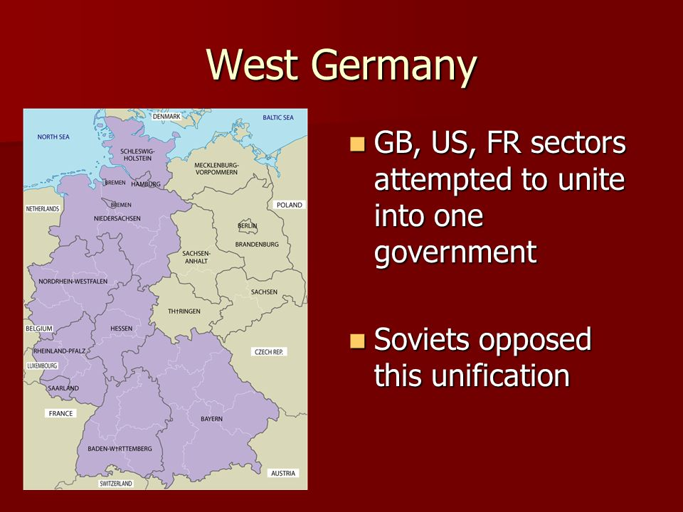 West Germany GB, US, FR sectors attempted to unite into one government