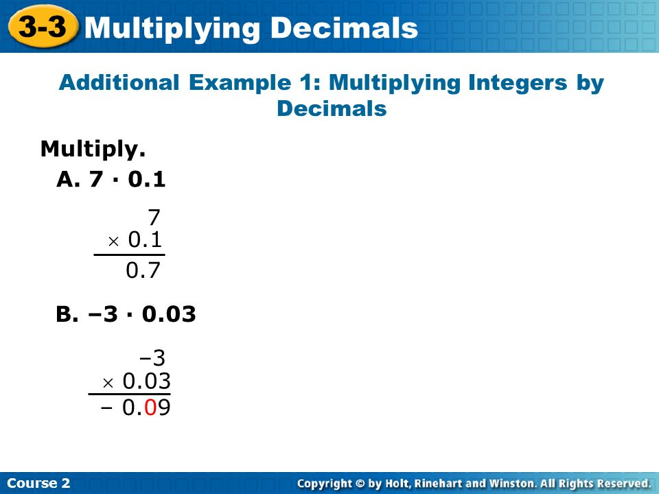 Additional Example 1: Multiplying Integers by Decimals