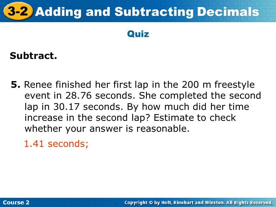 Adding and Subtracting Decimals Insert Lesson Title Here