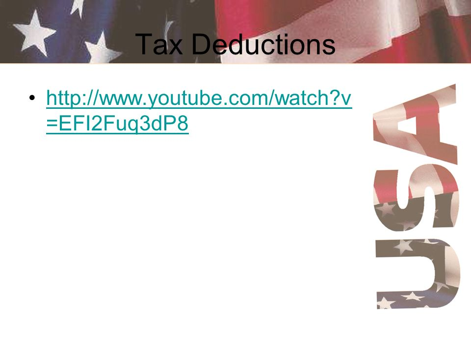 Tax Deductions http://www.youtube.com/watch v=EFI2Fuq3dP8