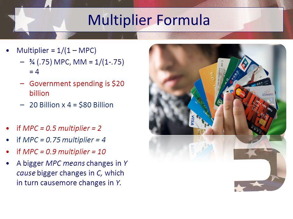 Multiplier Formula Multiplier = 1/(1 – MPC)