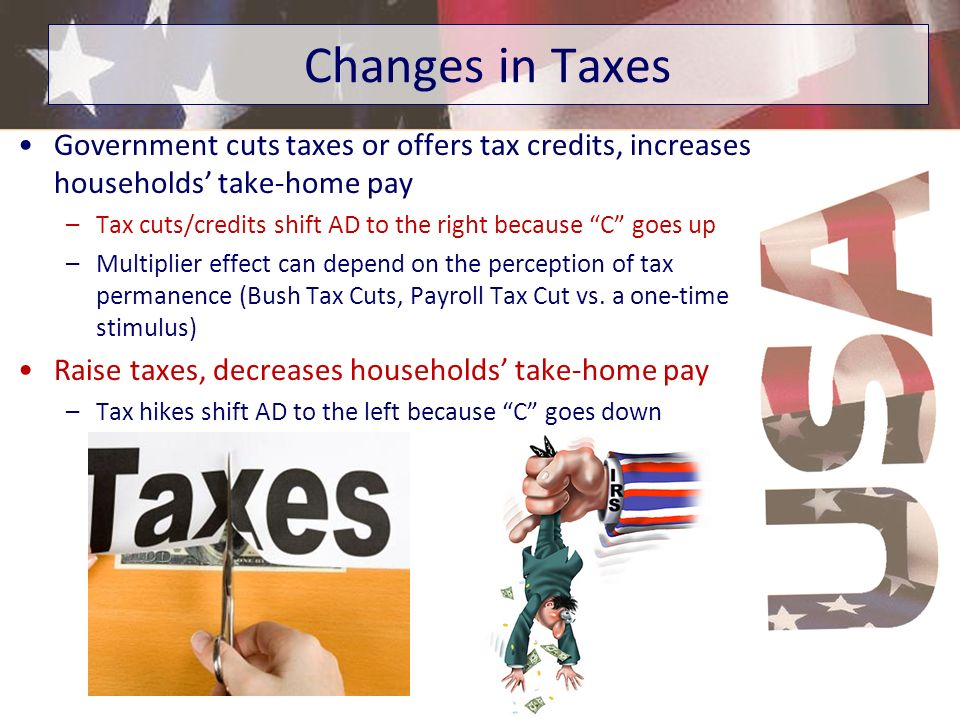 Changes in Taxes Government cuts taxes or offers tax credits, increases households' take-home pay.