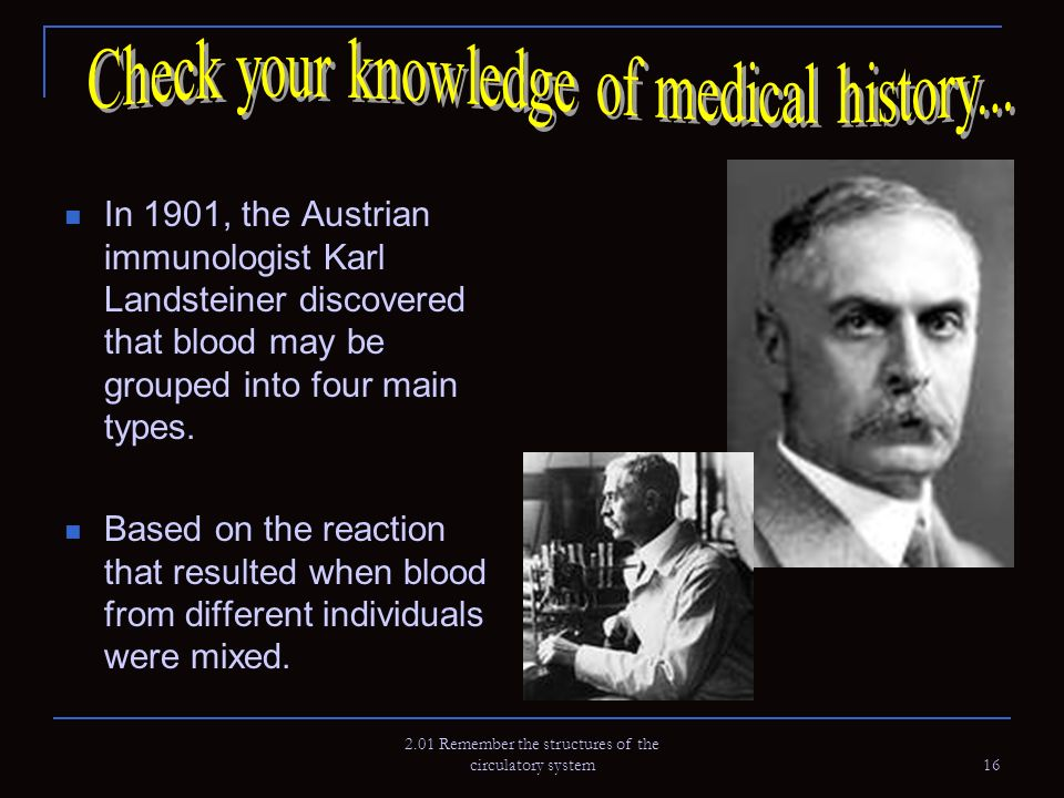 Check your knowledge of medical history...