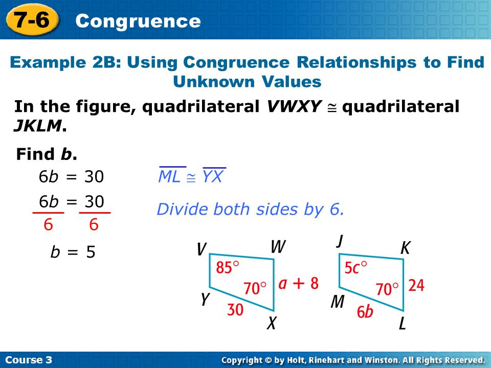 Example 2B: Using Congruence Relationships to Find Unknown Values