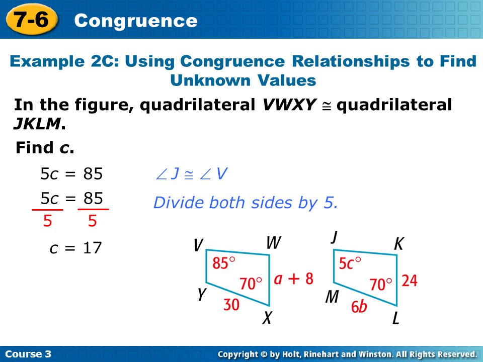 Example 2C: Using Congruence Relationships to Find Unknown Values