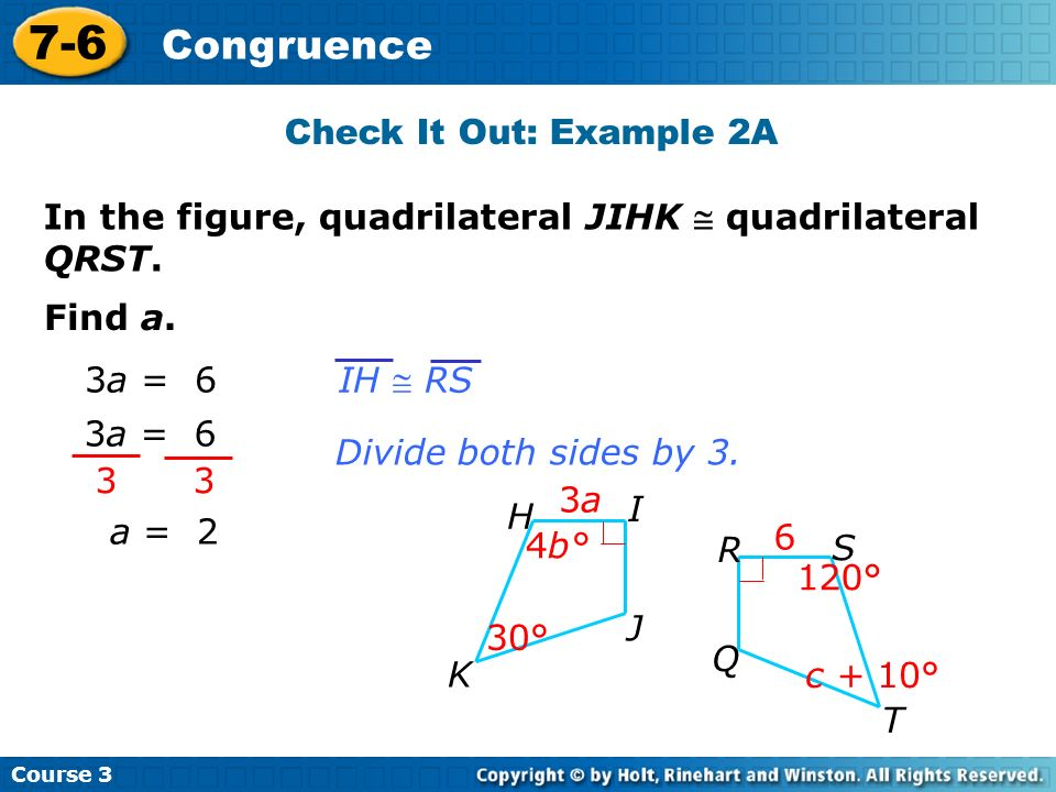 7-6 Congruence Check It Out: Example 2A