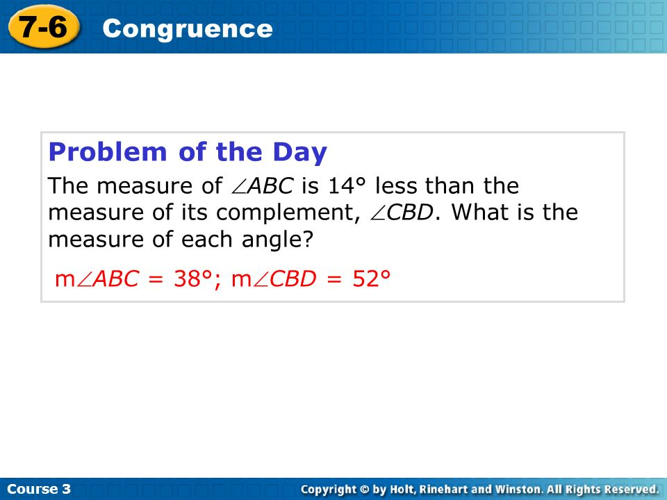 7-6 Congruence Problem of the Day