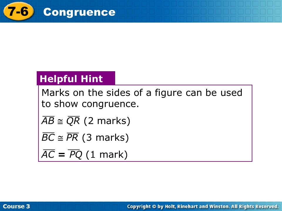 7-6 Congruence Helpful Hint
