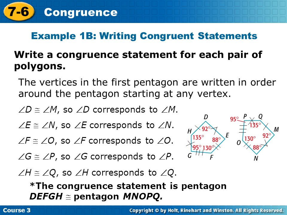 Example 1B: Writing Congruent Statements