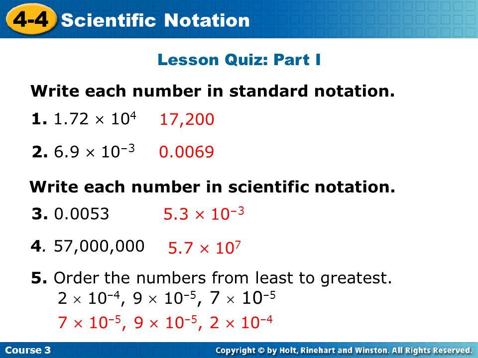 4-4 Scientific Notation Lesson Quiz: Part I