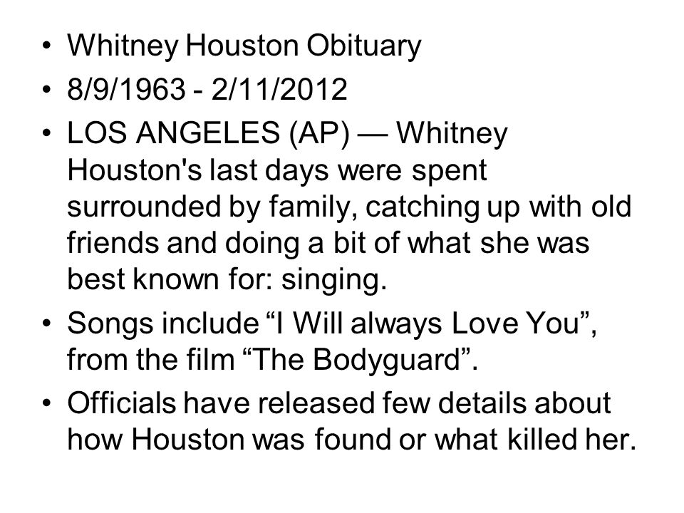 Whitney Houston Obituary