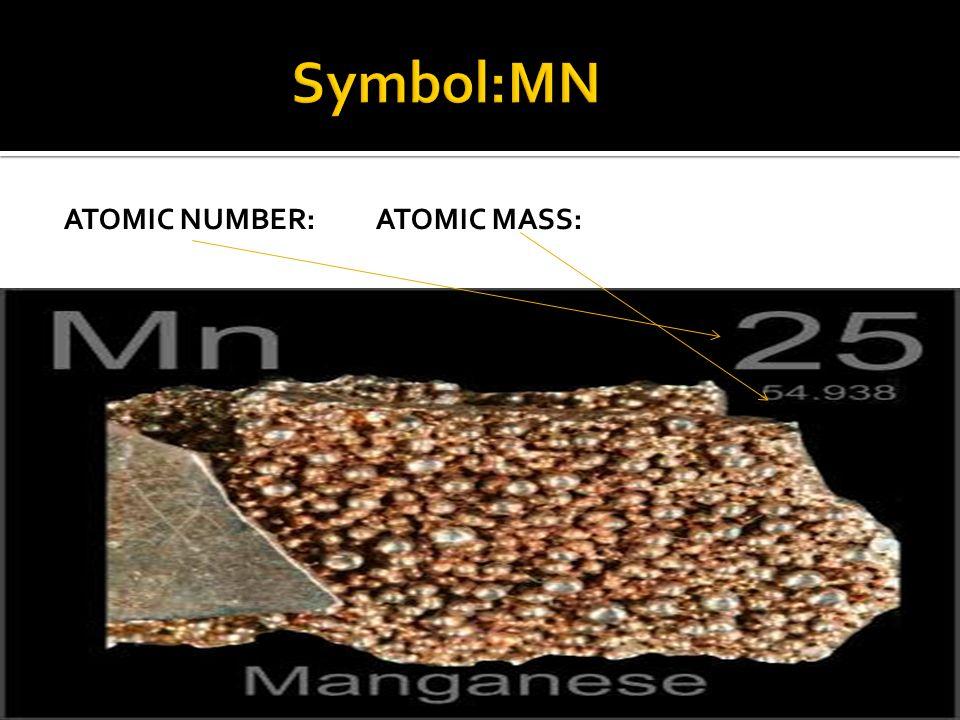 Symbol:MN Atomic Number: Atomic mass: