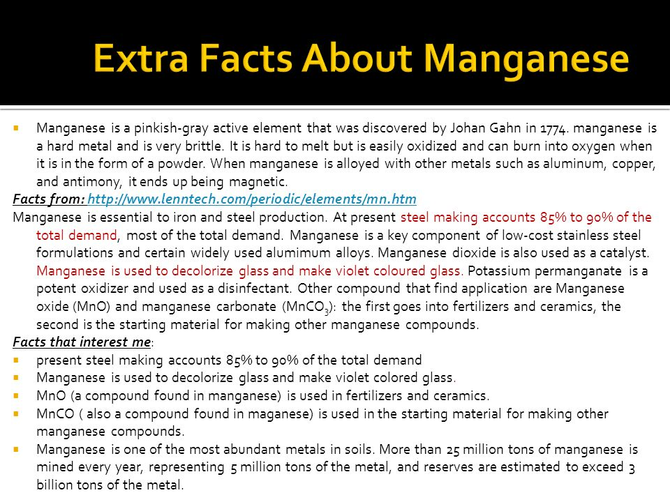 Extra Facts About Manganese