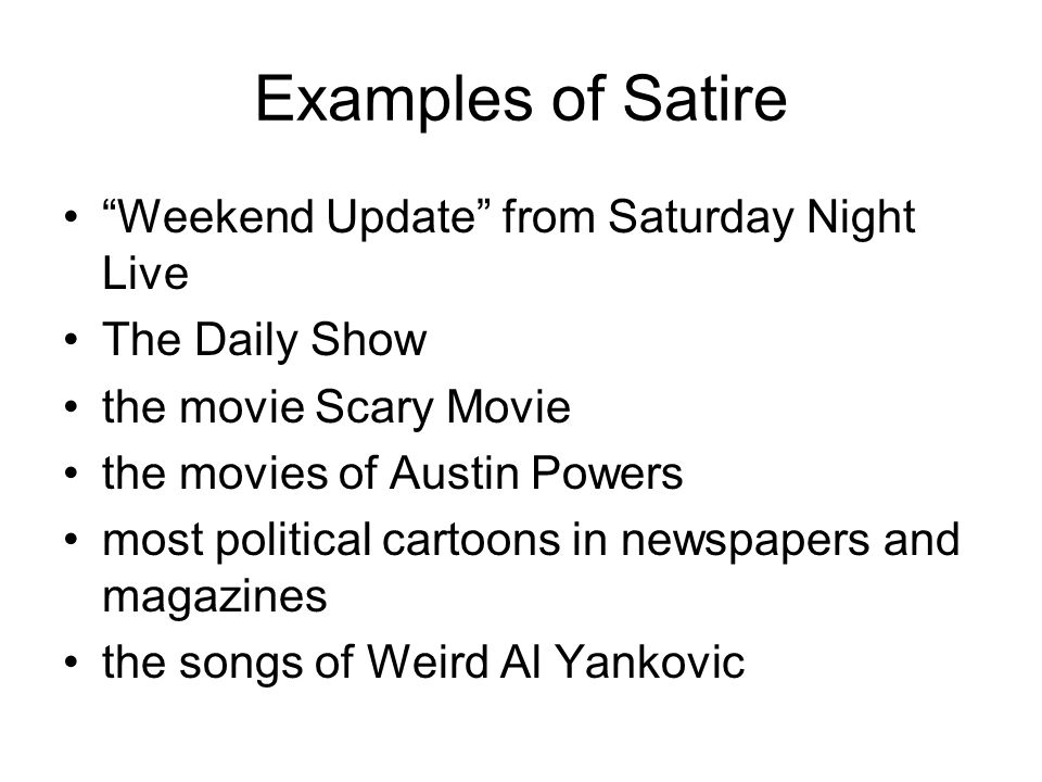 Examples of Satire Weekend Update from Saturday Night Live