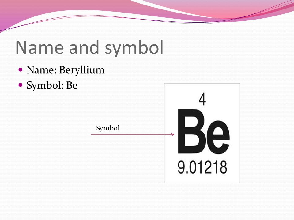 Name and symbol Name: Beryllium Symbol: Be Symbol