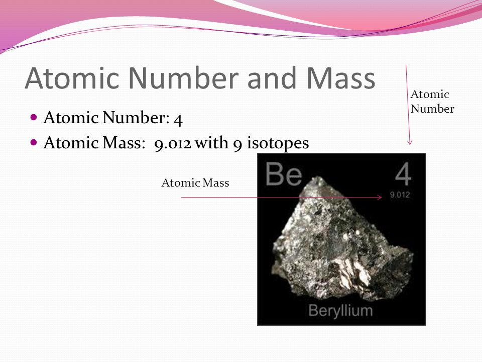 Atomic Number and Mass Atomic Number: 4