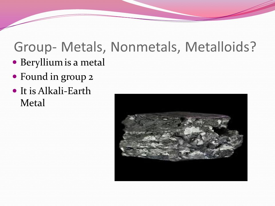 Group- Metals, Nonmetals, Metalloids