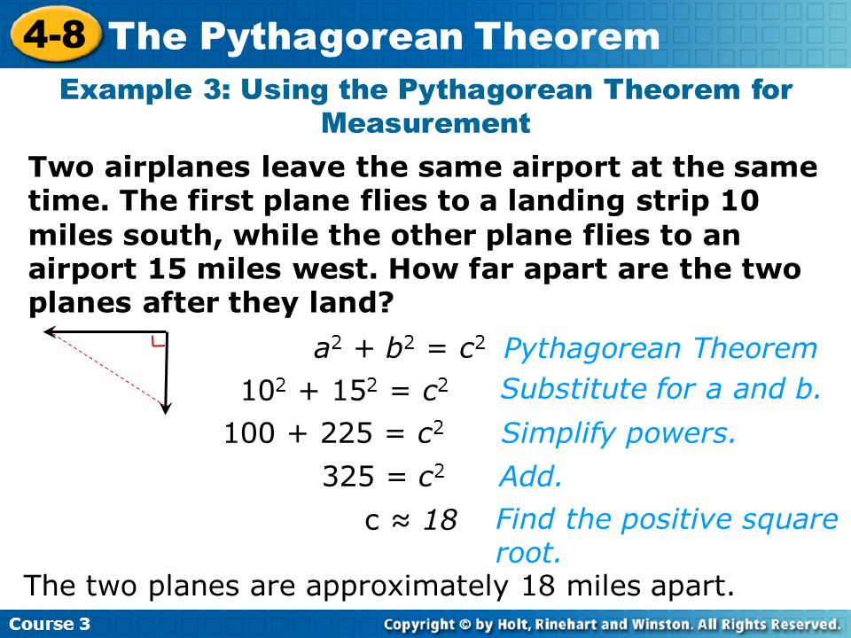 Example 3: Using the Pythagorean Theorem for Measurement