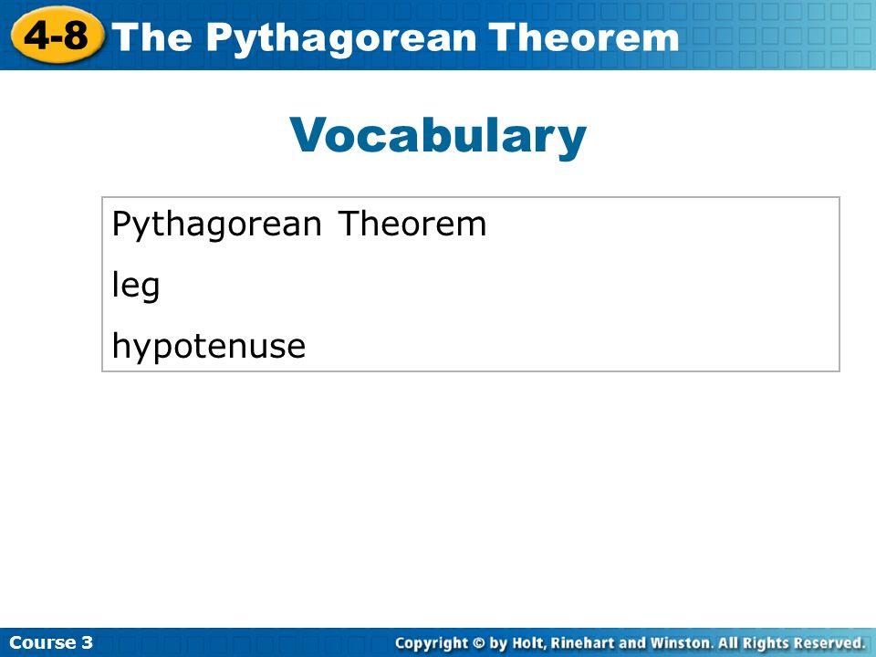 Vocabulary Pythagorean Theorem leg hypotenuse
