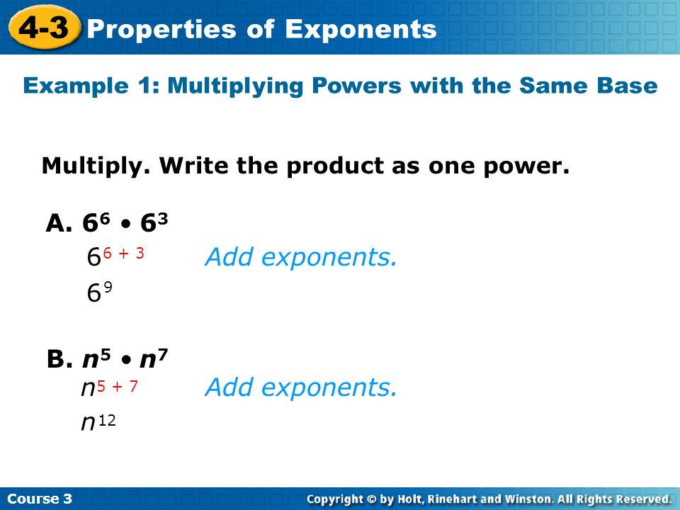 Example 1: Multiplying Powers with the Same Base