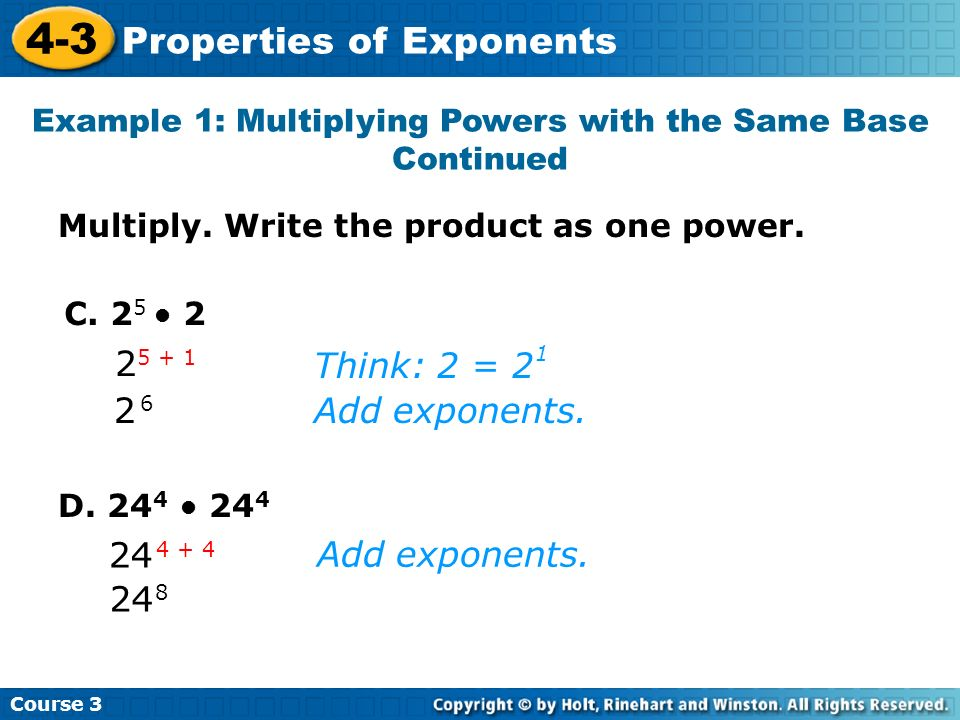 Example 1: Multiplying Powers with the Same Base Continued