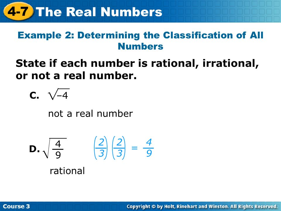 Example 2: Determining the Classification of All Numbers