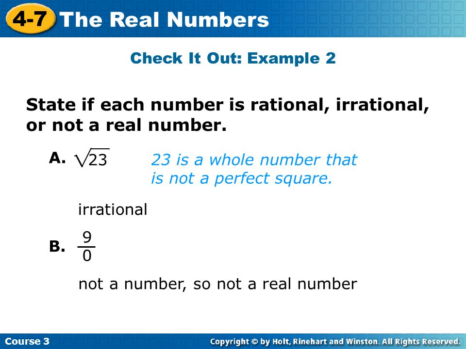 State if each number is rational, irrational, or not a real number.