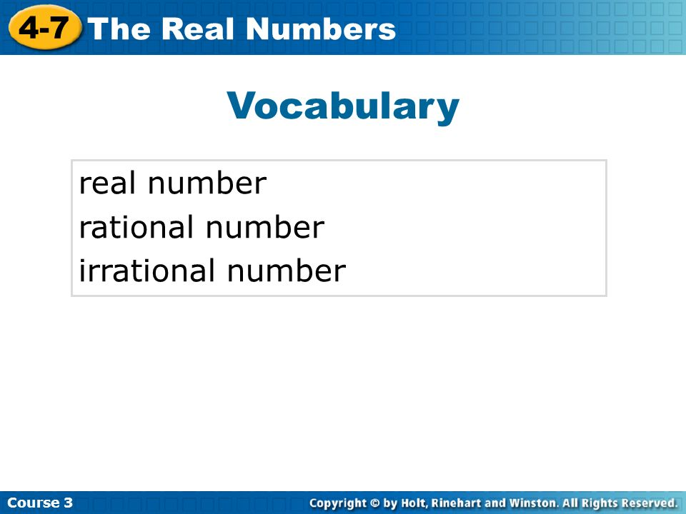 Vocabulary real number rational number irrational number