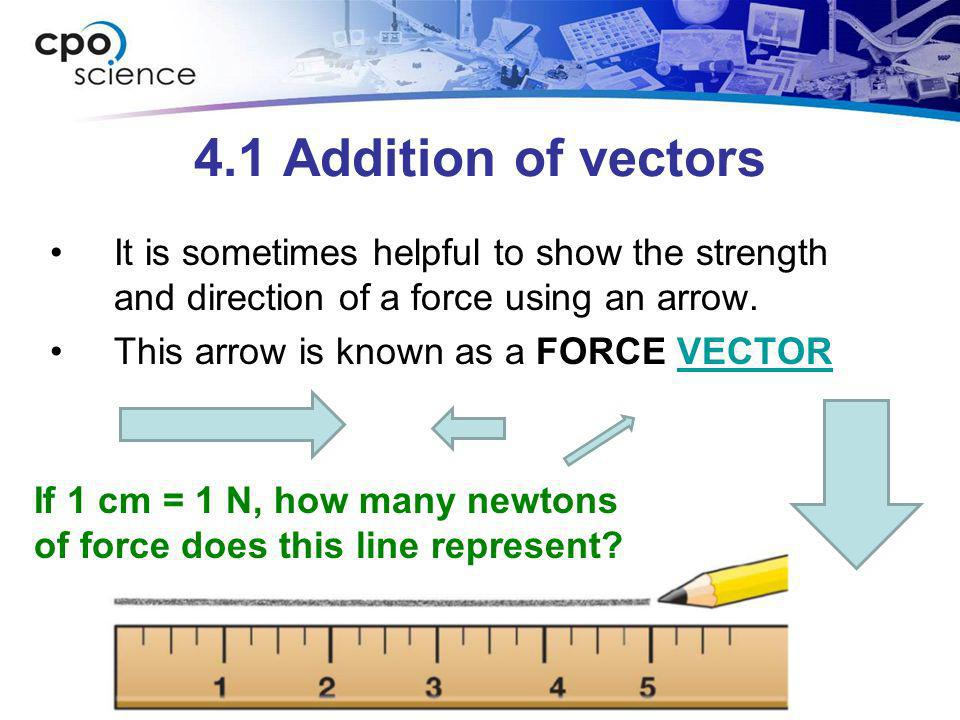 4.1 Addition of vectors It is sometimes helpful to show the strength and direction of a force using an arrow.