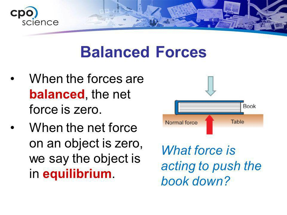 Balanced Forces When the forces are balanced, the net force is zero.